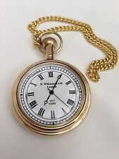 Pocket Watch Brass Finish Push Button Dalvey Style Hunters Red Pouch - Gift