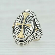 Konstantino Cross Ring - Sterling Silver 18k Gold Size 7.5 Religious Jewelry