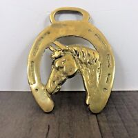 AUTHENTIC ANTIQUE HORSES HEAD RACING HORSE SHOE BRASS WORN LARGE WW2 AGED