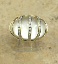 15.00 CT CRYSTAL QUARTZ CARVED WHITE AGATE 14K GOLD RING SIZE 6 QVC SOLDOUT