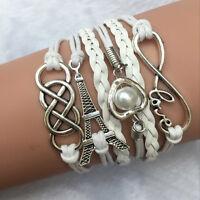 Damen Herren Unisex Leder Seil Eiffel Tower Armreif Armband Armkette Schmuck FS