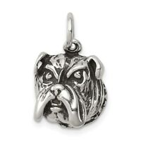 Sterling Silver 925 Antiqued Finish English Bull Dog Charm Pendant 0.59 Inch