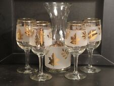 Mid-century Clear and Frosted Wine Carafe & 4 Stem Wine Glasses Gold Trim Leaves