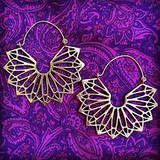 Tribal Fan Starburst Hook Boho Lightweight Earrings in Brass