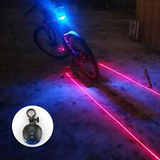 Flashing Bicycle Tail Rear Light Lamp 5 Blue LED 2 Laser Beam Safety Lazer Bike