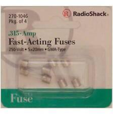 RadioShack Fast-Acting .315-Amp 250 Volt GMA Glass Fuses 5x20mm .315A 250V 4/PK