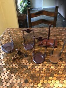 Vintage 3 Wooden  3 Plastic Teacup and Saucer Holders Or Display Stands