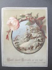 ANTIQUE Birthday Greetings Card W.B & O New York Snowy Chalet Victorian Chromo