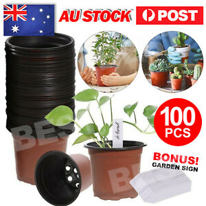 100Pcs Plastic Plants Nursery Pots Seedlings Flower Nursery Container Plant Tags