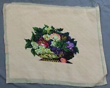 Finished Handmade Needlepoint Tapestry Fabric Fruit Bowl Pillow Chair 21 x 17