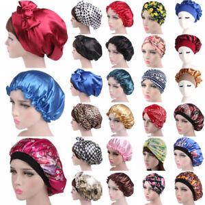 Up 2x Women Satin Silk Sleeping Cap Sleep Hat Hair Care Scarf Bonnet Loungwear