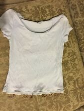 Women's Blue Short Sleeve Top/blouse With Hanging Embellishments Size M