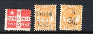 SAMOA Stamp Lot #3: Scott #23 24 25, 1894, Mint HR OG