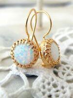 18K Yellow Gold Plated White Fire Opal Ear Stud Hoop Dangle Engagement Earrings