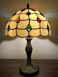 """Enjoy Tiffany Style Table Lamp Stained Glass Crystal Beans Vintage 19""""H*12""""W"""