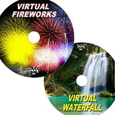 VIRTUAL WATERFALL & FIREWORKS 2 GREAT DVD VIDEO SET VIEW ON FLATSCREEN TV/PC NEW