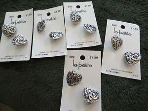 "10 la-petite silver metal heart-shaped buttons (7/8"")"