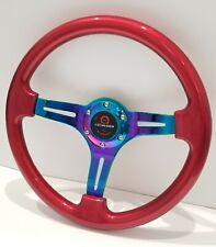 "350mm 14"" Universal Deep Dish ABS Racing Steering Wheel Neo-Chrome Spoke Mugen"