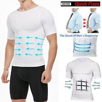 Men Slimming Body Shaper Gynecomastia T-shirt Posture Corrector Vest Compression