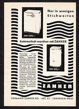 3w1426/ Alte Reklame von 1959 - ZANKER Waschmaschinen - Tübingen