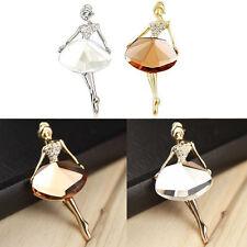 Elegant Princess Ballerina Brooch Pins Bling Crystal Brooches Ballet Girl Pins R
