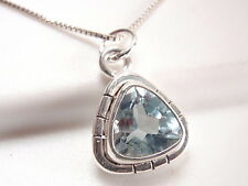 Faceted Blue Topaz Triangle with Grooved Accents 925 Sterling Silver Pendant