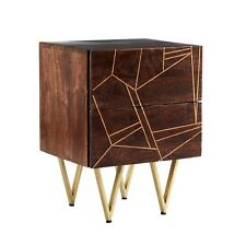 Side table with 2 drawers made from Solid wood Dark Gold Collection BRS01