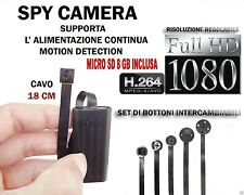 MICROSPIA SPY CAMERA SPIA FULL HD +SD 8GB  MOTION DETECTION TELECAMERA MICRO