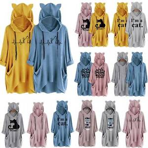 Oversize Women Cat Ear Hooded Hoodie Sweatshirt Pullover Casual Long Tops Shirts