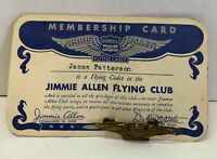 1930s Jimmie Allen Flying Club Richfield Hi-Octane Cadet Wings & Membership Card