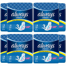 Always Classic Sanitary Towels, Night Pad with Wings, Size-3, 8 Pads, 8 Pack