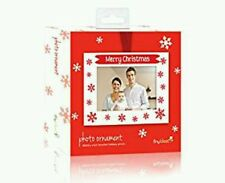 NEW IN BOX NIB TINY IDEAS MERRY CHRISTMAS PHOTO ORNAMENT RED WHITE