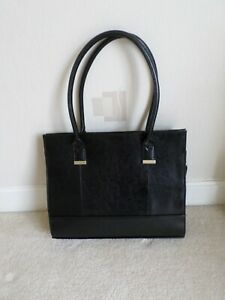 LADIES BHS FAUX LEATHER SHOULDER BAG (14 INCHES BY 11 INCHES BY 4 INCHES) BLACK