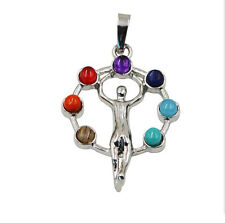 Silver Plated 7 Stone Beads Goddess Round Healing Point Chakra Pendant necklace