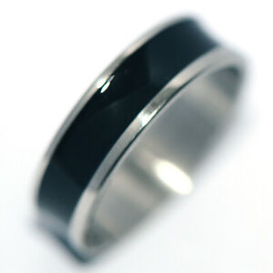 Black Mens Womens Band Ring Stainless Steel Rings Fashion Jewelry Size 11