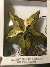 Lighted Golden Star Metal Christmas Tree Topper Decor 10.25�