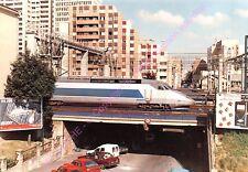CP 75014 PARIS TRAIN TGV rame A 320 pont rue Gergovie train 8613 PHOTO HANQUEZ