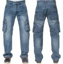 Stonewashed Cargo, Combat Short Mid Rise Jeans for Men