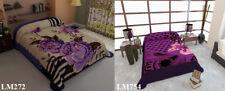 2 Ply Reversible Floral Purple Lavender Queen Size Soft Mink Blanket 6lbs