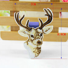 Deer Patch Sew Iron On Badge Biker Embroidered Reindeer Head Christmas Decor DIY