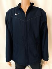 Mens NIKE Jacket Coat Soft Shell Fleece Lined w/ Pockets Navy Blue Size Large L