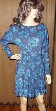Galliano Blue black Floral long sleeve Dress size 40 new