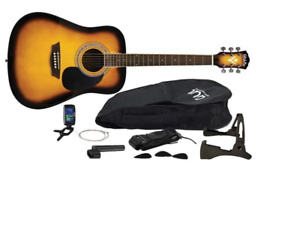GWL George Washburn Ltd Acoustic Guitar Pack + Tuner, Strings, Picks, Stand, Bag