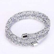 Silver Double Crystal Encrusted Bracelet / Bangle Made With Swarovski Elements