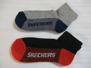 NEW BOYS 2 PAIRS SKECHERS 9-11 RED BLACK BLUE GRAY ACCENTS ANKLE QUARTER SOCKS