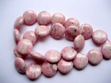 Rhodochrosite coin beads. 15mm Pink gemstone beads