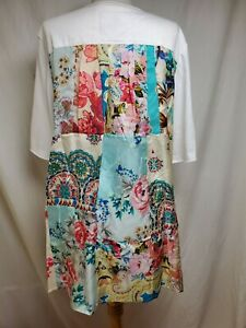 nwot Johnny Was JWLA Tunic Top XL White Silky Colorful Floral Patchwork Back Tee