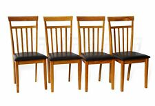 Set of 4 Warm Dining Room Kitchen Chairs Solid Wood in Maple Finish