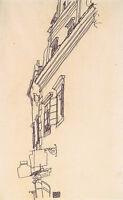 Egon Schiele - Sketch of Buildings Vintage Fine Art Print