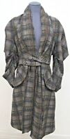 MAX AZRIA Runway Fall 2014 Wool Belted Trench Coat Plaid Coat Brown Size: Small